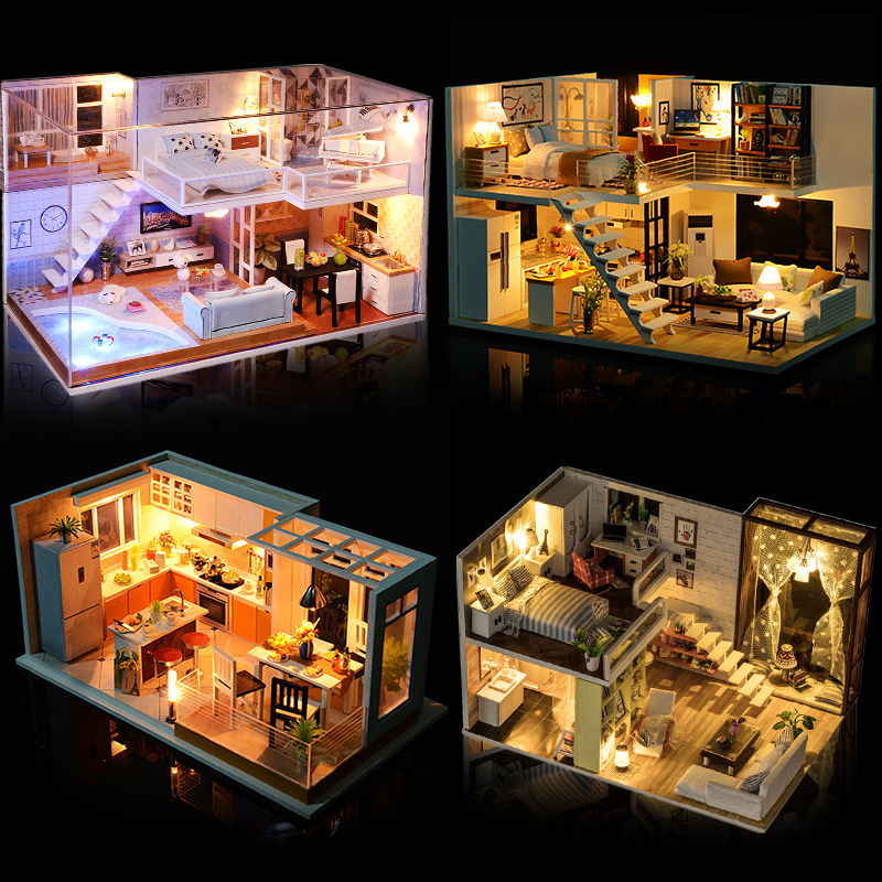New Miniature Doll House Diy Doll House Mini Casa Building Kits Set Wooden Loft House Model Christmas Gift Toys For Children #E loft house loft house p 139