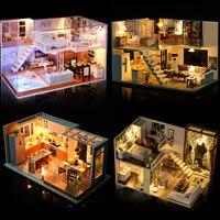 New Miniature Doll House Diy Doll House Mini Casa Building Kits Set Wooden Loft House Model Christmas Gift Toys For Children #E