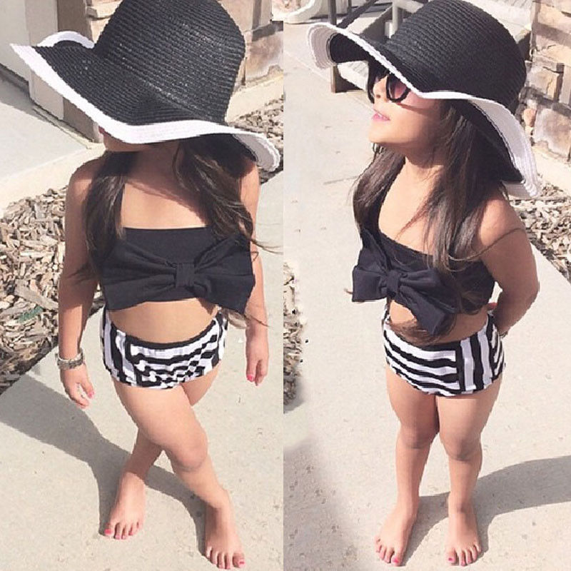 New Baby Girls Kids Bikini Set Beachwear Knot Top + Striped Bottoms Swimsuit Swimwear Bathing Suit Summer