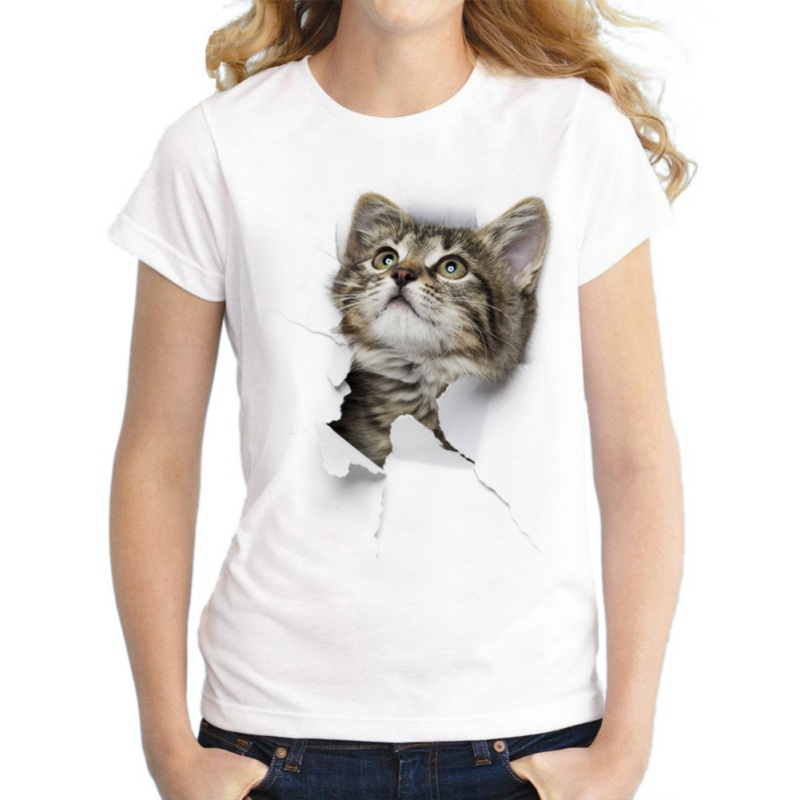 New Pierced Cat Print Women T Shirts 2018 Cute Tops O-Neck Short Sleeved Loose Top Tanks Plus Size Casual T-shirt Y3