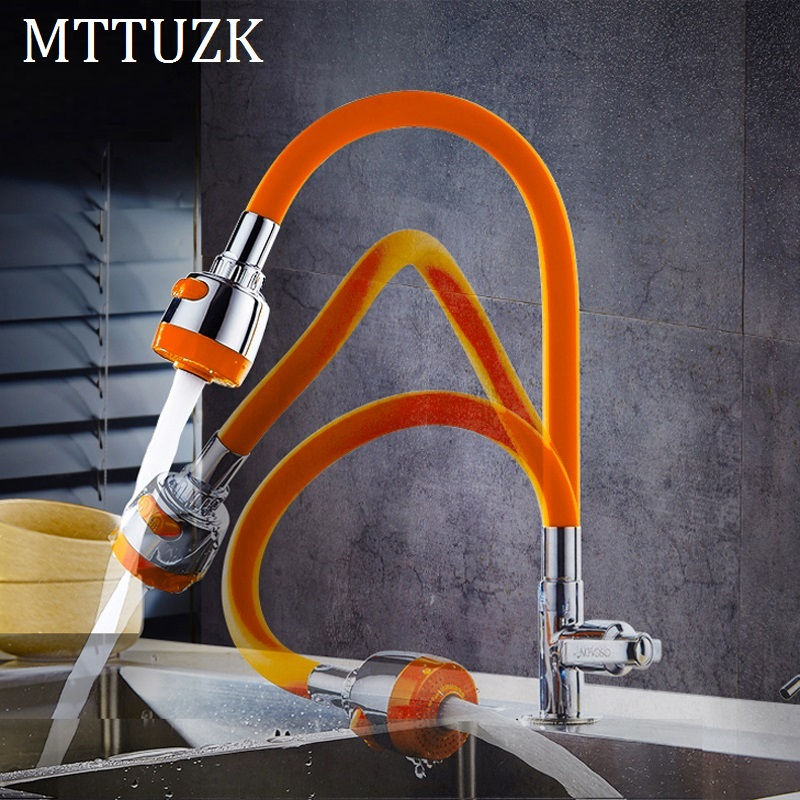 MTTUZK Solid Brass  Kitchen Faucet Silica Gel Any Direction Rotating Single Cold Water Tap Multi-color Universal Faucet Torneira