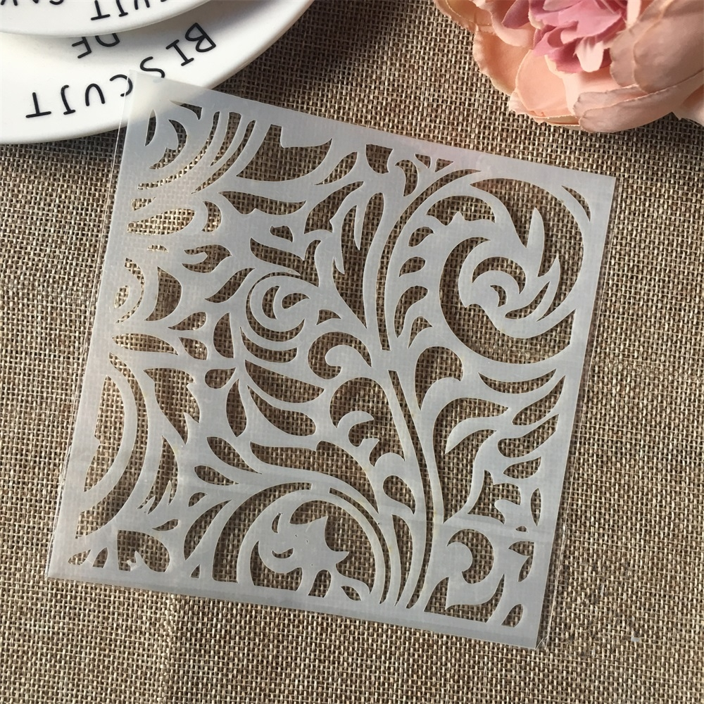 Hot 13cm Flower Background DIY Craft Layering Stencils Wall Painting Scrapbooking Stamping Embossing Album Card Template