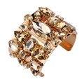 2017 Gold Plated Shining Crystal Rhinestone Cuff Wide Bracelets & Bangles Open Statement Women Wedding Bridal Cocktail Jewelry