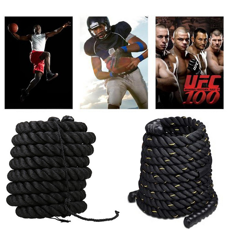 12/15M Heavy Black Undulation Fitness Rope Physical Body Strength Muscle Training Sport Power Rope Fitness Equipment  HWC