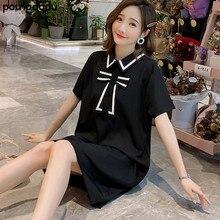 Poungdudu платье для беременных женщин новое летнее платье черное платье с короткими рукавами настоящая съемка с маленьким видео