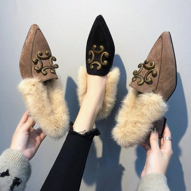 À Poilu Automne Version La Talons Alliés Pois Sauvage A1 Chaussures 2018 Pointu Femmes Femelle Bas De a2 Nouveau Femme Simples Coréenne dz6znx
