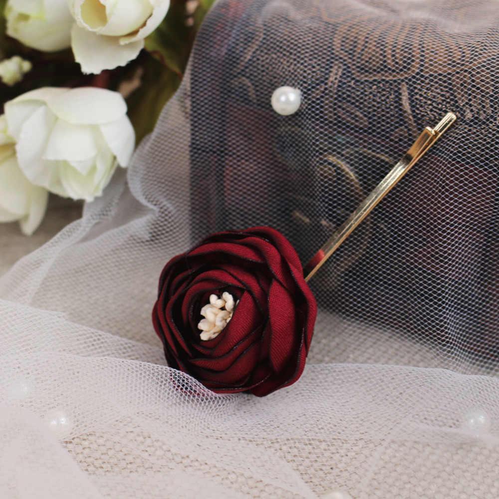 CC Свадебные украшения для волос расчески роза цветок обручение аксессуары для волос свадебная одежда подружки невесты красный цвет вечерние пляжные O893