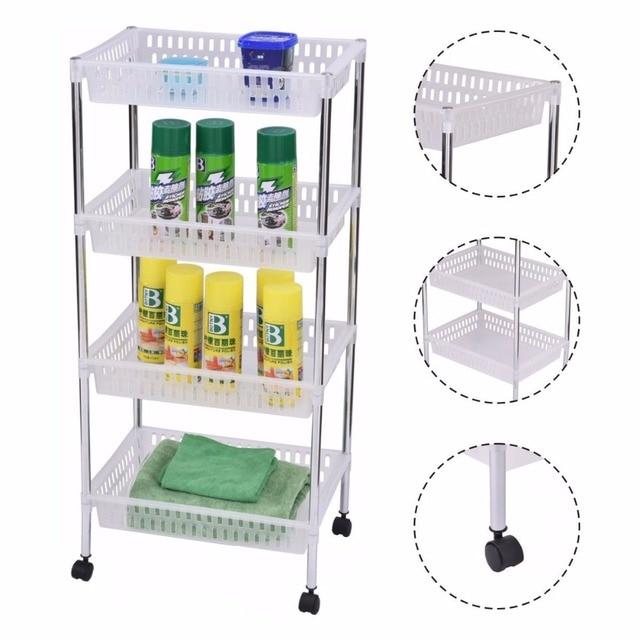 office trolley cart. Goplus Rolling Kitchen Trolleys 4 Layers Portable Trolley Cart Storage Display Baskets Bathroom Office Organizer A