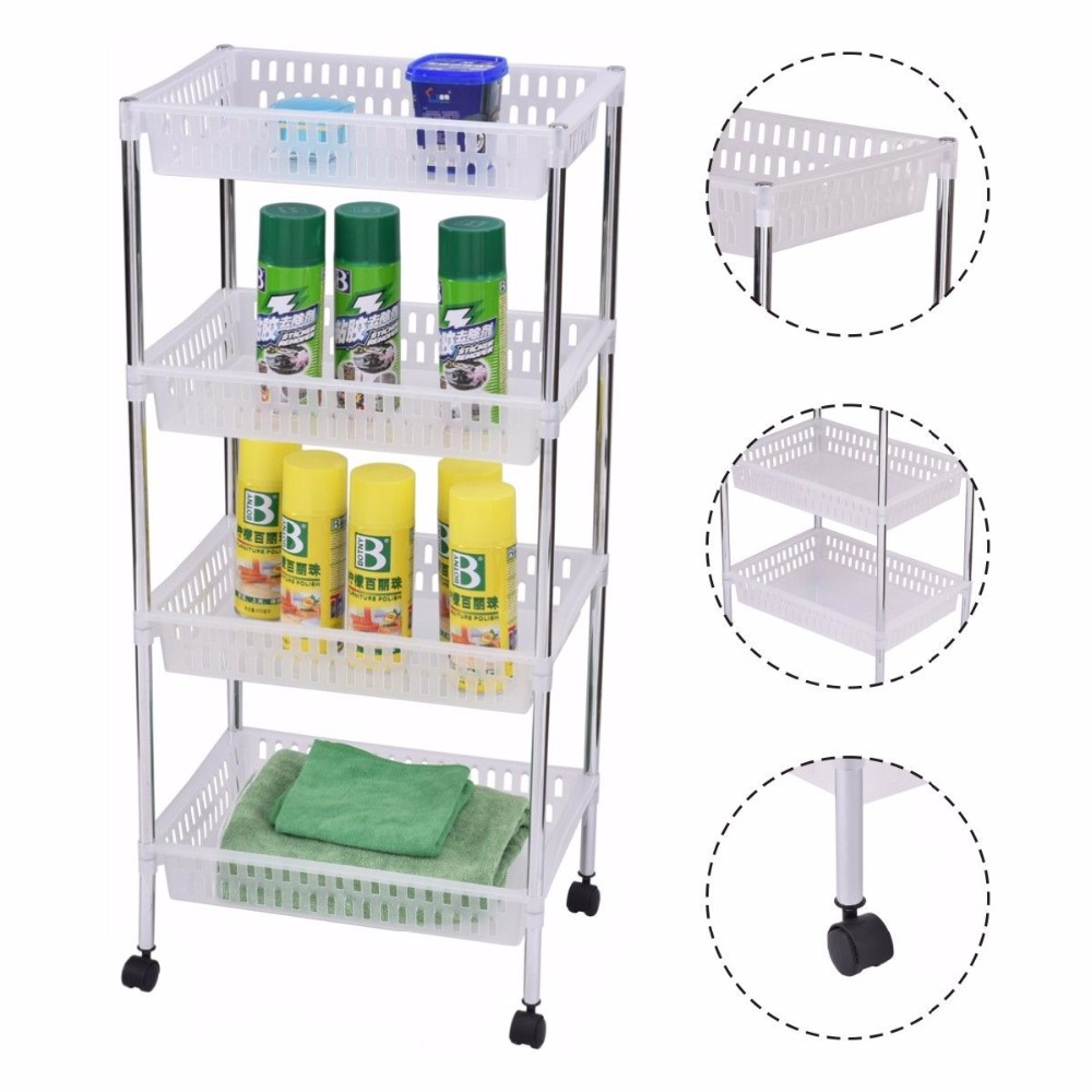 Goplus Rolling Kitchen Trolleys 4 Layers Portable Trolley Cart Storage Display Baskets Bathroom Kitchen Office Organizer HW53827