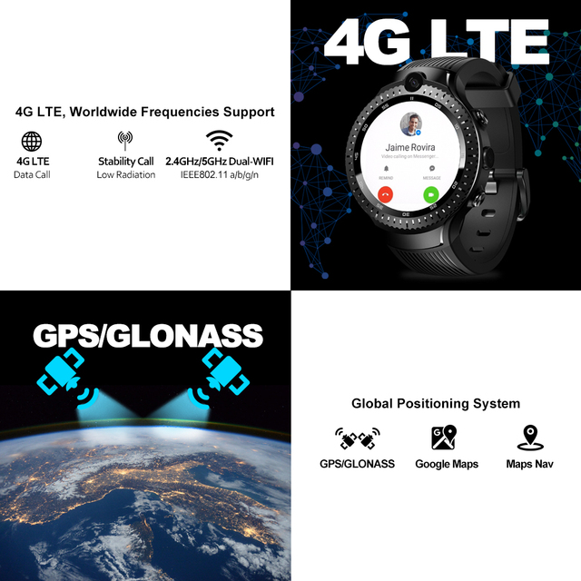 "New Zeblaze THOR 4 Dual 4G SmartWatch 5.0MP+5.0MP Dual Camera Android Watch 1.4"" AOMLED Display GPS/GLONASS 16GB Smart Watch Men 3"