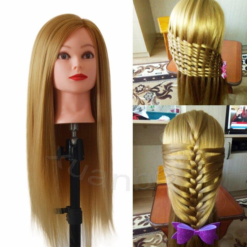 Nouveau Style Lisse Synthétique Cheveux Cabeza Maniqui Mannequin Avec Longue Blonde Cheveux Poupée Belle Mannequin Tête Bonne Qualité Mannequin Tête