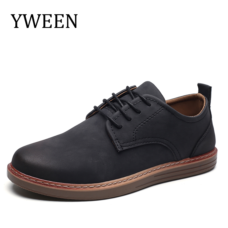 YWEEN 2018 Spring Men Casual Shoes Breathable British Leather Shoes Man Flat Shoes british style men real leather brouge shoes boys new spring zip retro casual shoes craved wing tips flat man oxfords