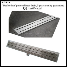 """500mm """"Double"""" Style Stainless Steel 304 Linear Shower Drain, Horizontal Outlet, Shower Channel, Long Floor Drain"""