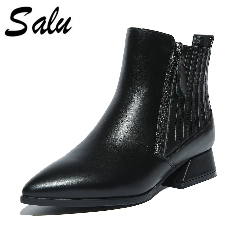 Salu 2018 new fashion ankle boots women round toe Genuine leather boots sexy spring autumn high heels shoes woman plus size 11Salu 2018 new fashion ankle boots women round toe Genuine leather boots sexy spring autumn high heels shoes woman plus size 11