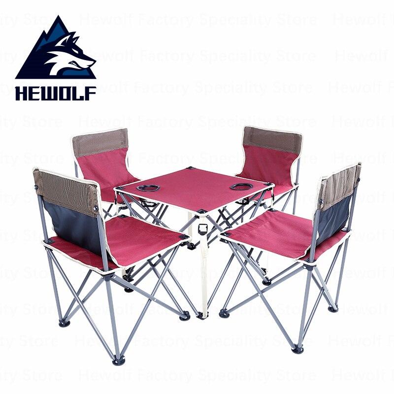 Hewolf Tables et chaises pliantes chaises de Camping en plein air un ensemble 4 places 1 Table outils de Camping portables pique-nique en plein air équipement barbecue