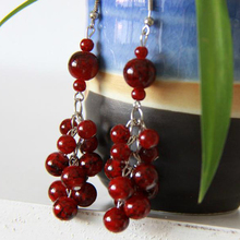 Ethnic jewelry wholesale bohemian glass beads imitation cherry earrings 131