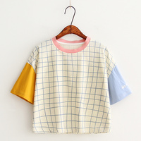 2017 New Summer Tops O Neck Harajuku Cute Casual Patchwork Women Letter Embroidery Tshirts Cotton Plaid