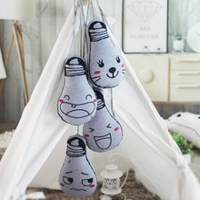 1pc 25cm New Cute Emoji Glow in the Dark Light Bulb Cushion Pillow Kawaii Kids Appease Dolls Baby Bed Decoration Gifts For Child(China)
