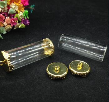 100sets/lot 40*15mm mini tube shape glass bottle with open glass globes jewelry vial pendant handcrafted diy necklace findings