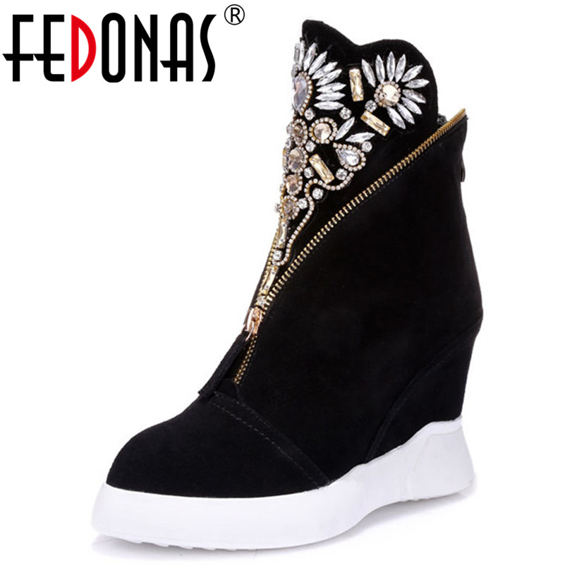 FEDONAS New Arrival Women Ankle Boots Autumn Winter Warm Cow Suede High Heels Shoes Woman Rhinestone Party Prom Round Toe Pumps fedonas1new arrival women ankle strap sandals summer high heels shoes woman rhinestone party prom silk luxury brand design pumps