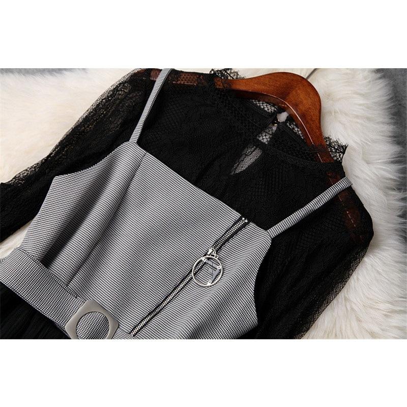 Voir Lace Layered Nouveau Robe Sangle Noir Femmes Élégant Black Designer Through Piste Volants Pièces Plaid En Top Pour Tulle 2019 2 Printemps aa8PS