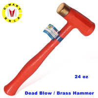 C MART tools 24 oz Dear Blow/ Brass Hammer Red copper round hammer Plastic Handle, Explosion proof Safety Tool