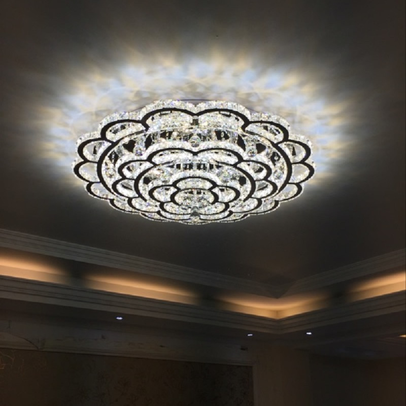 Us 205 0 Re Crystal Led Ceiling Light For Living Room Lighting Fixture Remote Control Modern Lamp Home Bedroom 110v 220v In Lights From