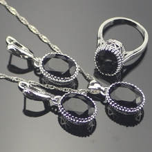 Trendy Oval Black Cubic Zirconia 925 Sterling Silver Jewelry Sets For Women Sliver Earrings/Pendant/Necklace/Rings Free Box