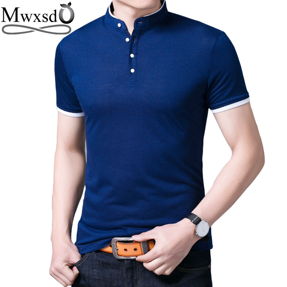 Mwxsd brand summer men's slim fit solid cotton   polo   shirt for men stander collar short sleeve   polo   shirt camisa Homme Shirts