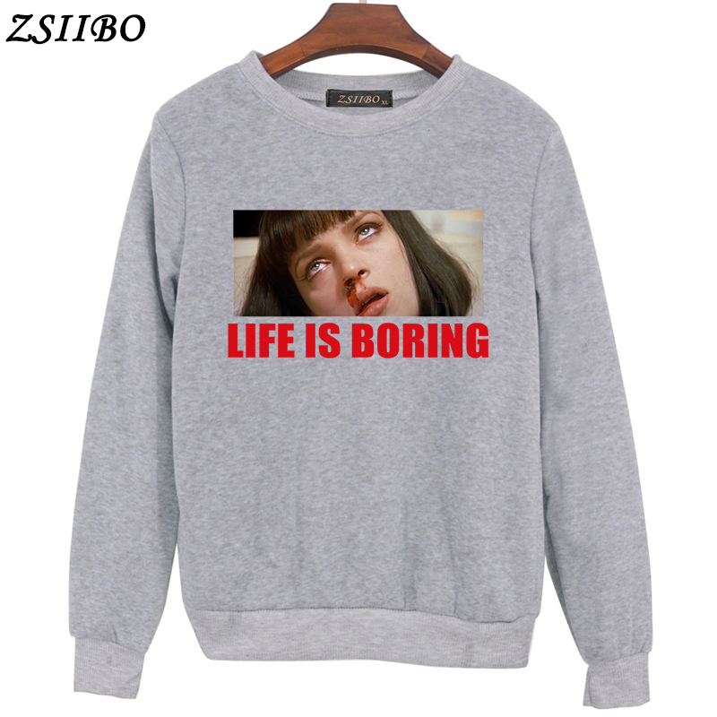 2018 Autumn Harajuku Women Hoodie Life is Boring Letters Casual Design Long  Sleeve Hooded Pullover Sweatshirts Hooded Female-in Hoodies   Sweatshirts  from ... ffad0c494e44