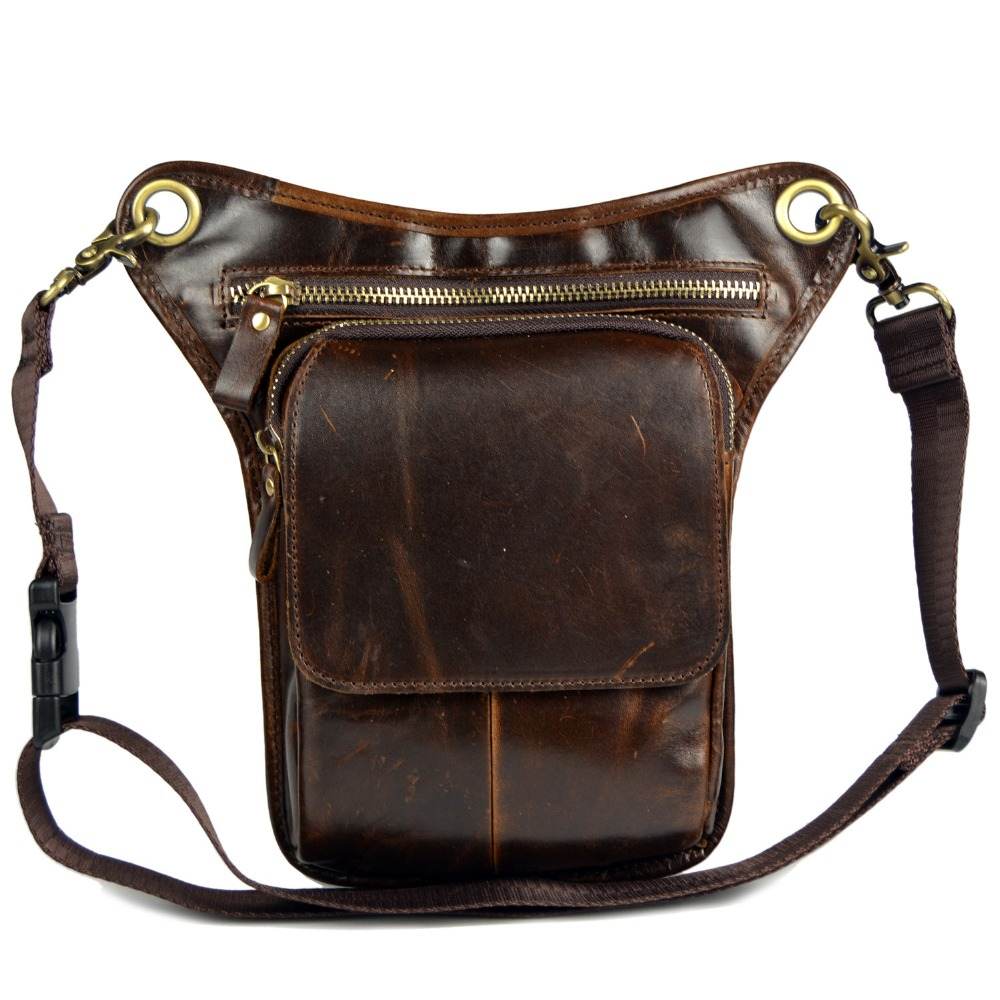 High quality real leather Men's Genuine Leather Travel Motorcycle Riding Messenger Shoulder Belt  Waist pack Thigh Drop Leg Bag drop shoulder plain coat with belt