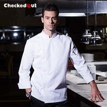 High Quality Winter Long Sleeve Professional Head Chef Uniform Restaurant Hotel Kitchen Grey Chef Jacket Cooker Uniform B-5211(China)