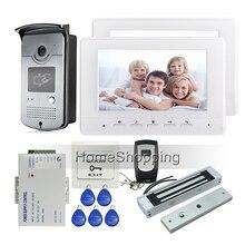 Free Shipping Brand 7″ Color Video Intercom Door Phone Kit + 2 Screen + NightVison RFID Reader Access Door Camera + EM Door Lock