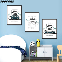FOOCAME Bus Car Bear Mountain Child Cartoon Poster Art Print Canvas Painting Nursery Baby Room Wall Decoration Pictures Bedroom