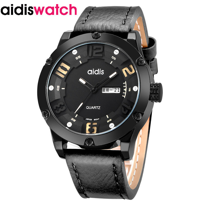 Male Sport Quartz Watch Men Waterproof Leather Wristwatch Fashion Hot Sale Leather Dust Shock Waterproof Week Sunday calendar waterproof watch for women nuodun top brand hot sale ladies business watch with calendar week woman wristwatch assista mulher
