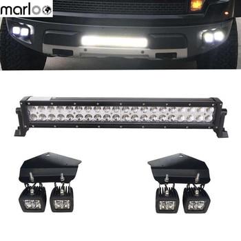 Marloo 21 inch 120W Combo LED Light Bar+4x 20W Spot Fog Light Hidden Bumper Mount Bracket For 2010-2014 Ford F150 SVT Raptor