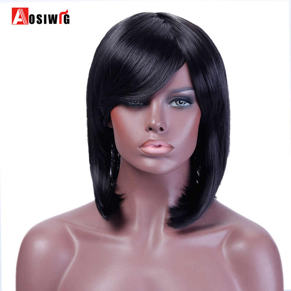Short Straight Wig Costume Party Bob Wig Black Blue Purple 10 Colors Heat Resistant Synthetic Hair Cosplay Wig For Women AOSIWIG