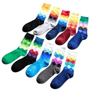 Image 5 - Artı Boyutu 10 çift/grup Rahat Renkli Mutlu Çorap Erkekler Komik pamuk çorap Sıcak İngiliz Tarzı Ekose Calcetines Divertidos Sıcak