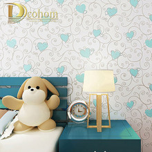 Non-woven Thuis Decoratie Behang Kinderkamer Prinses Blauw/Roze Kleur Cartoon Muur Papier 3d Papel De Parede roll R490(China)