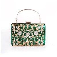 Women elegant fashion Splice Rhinestone wedding party clutch Silver / Black / Gold evening bag ladies shoulder bag flap purse