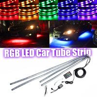 4pcs RGB 5050 SMD LED Tube Strip Under Car Lighting Underglow Underbody System Neon Chassis Light