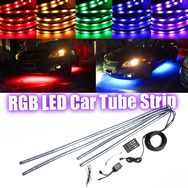 4 stks RGB 5050 SMD LED Buis Strip Onder Auto Verlichting Underglow ...