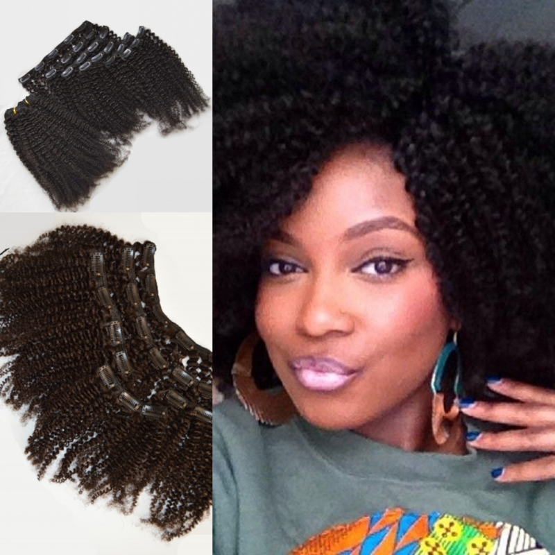Hot 3c4a4b Afro Kinky Clip Ins Hair Extensions 100 Virgin