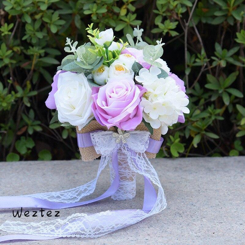 Bouquet de mariage Bouquet de mariée ruban mariée tenant fleur Rose demoiselle d'honneur mariage fleurs en mousse Rose 617