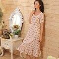 Manga curta Floral longa camisola de algodão combina bonito camisola Floral das mulheres do Vintage Sleepwear