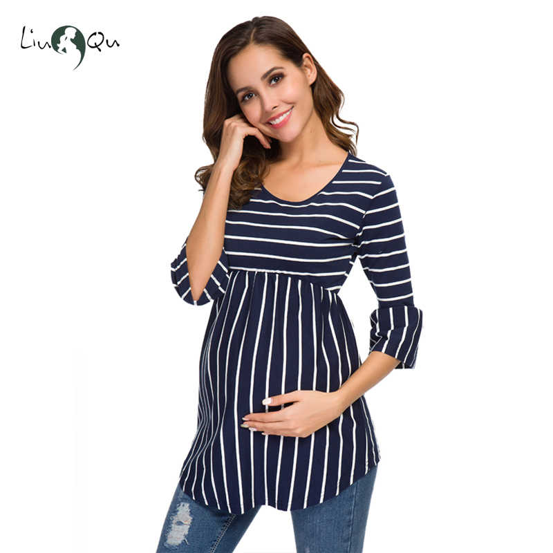 a534f2c81f6a1 ... Ruffle Maternity Tops Loose Pregnancy Blouse Striped T-shirt Tunic 3  Quarter Casual Maternity Clothes