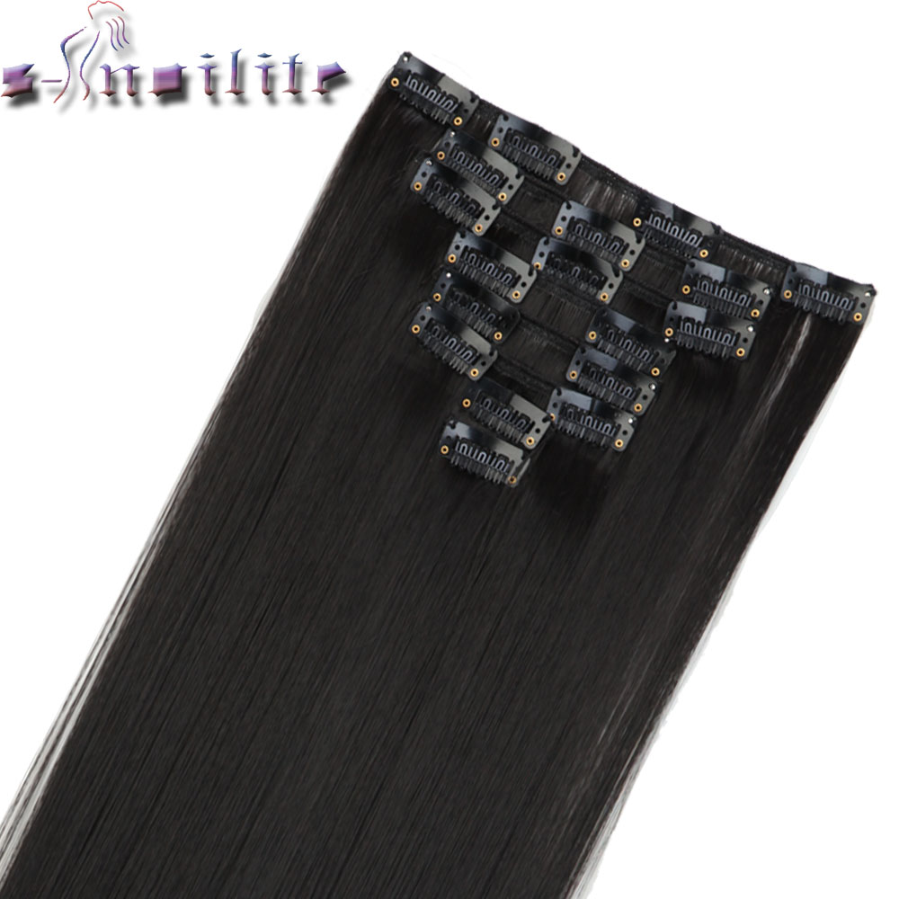 S noilite 8Pcs Long Striaght Double Thick Full Head Weft Clip in Hair Extensions Extension Synthetic