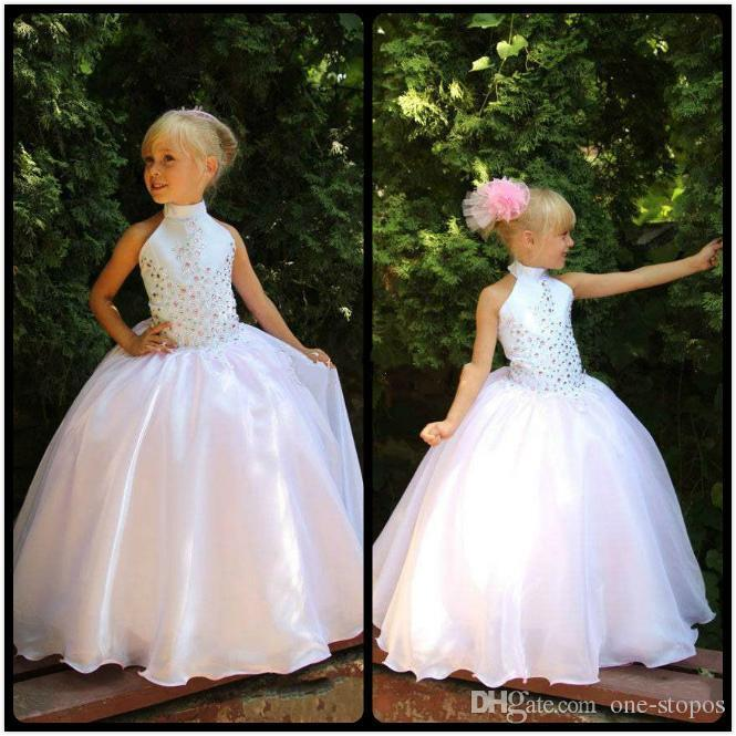 2017 toddler white cheap flower girls dresses high neck girls 2017 toddler white cheap flower girls dresses high neck girls pageant dresses organza beads kids party gowns in flower girl dresses from weddings events mightylinksfo