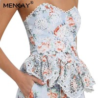 [MENKAY] Bohemian Ruffled Women Tank Tops Elegant Lace Hem Summer Female Tops Female Korean Holiday Fashion Clothing New