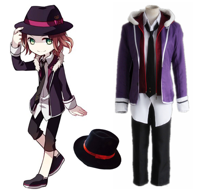 Anime Diabolik Lovers Sakamaki Raito Cosplay Costume Full Set Uniform ( Jacket + Hoodies + Shirt + Pants + Tie + Hat )